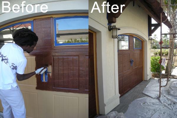 Aluminum Garage Door Looks Like Varnished Wood | Custom Faux Finish Artists